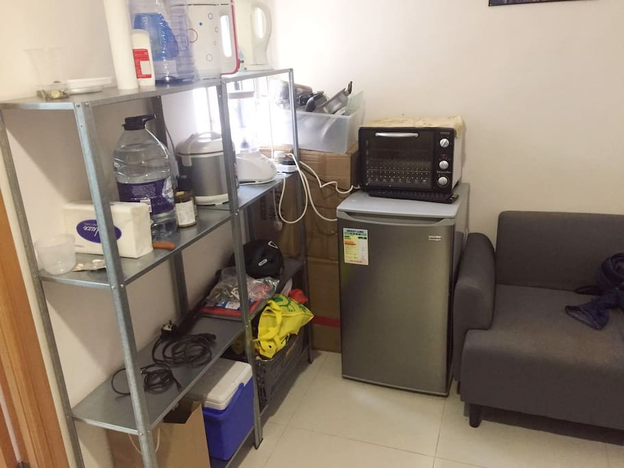 storage, fridge and oven