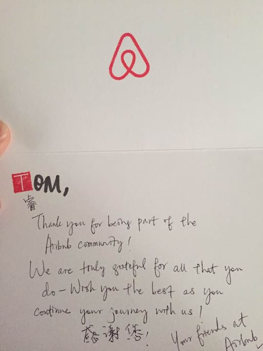 Airbnb官方给作为精选超级房东的我的感谢信! The letter from the Airbnb official group which is only for selected super host !