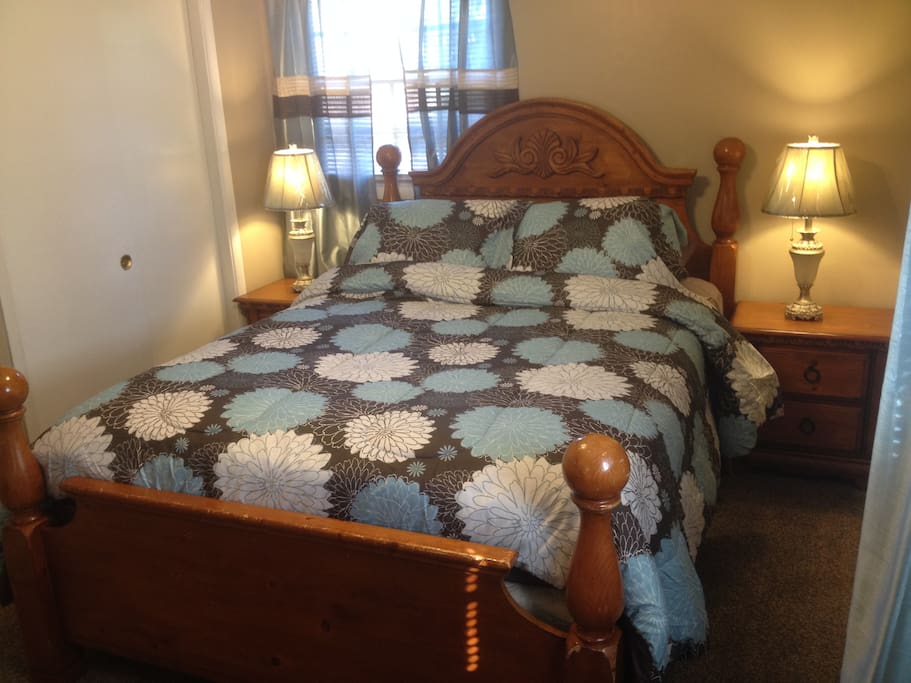 Nice Queen-size bed with plenty of closet space and storage space.