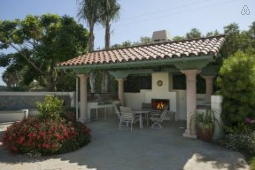 Your poolside grill, fireplace, refrigerator, sink, microwave and coffee maker.
