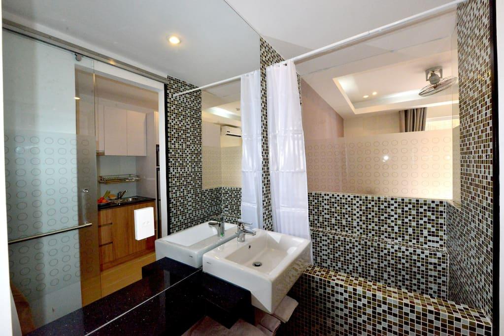 Modern designed bathroom with large bathtub