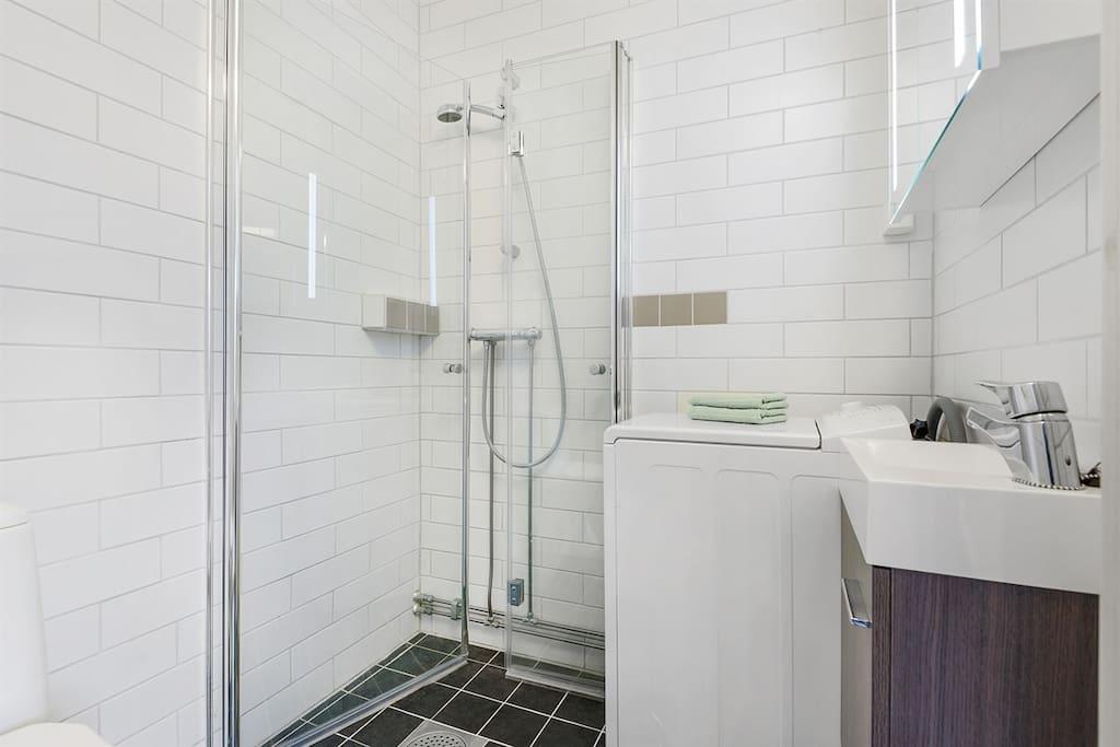 bathroom, with washing machine.