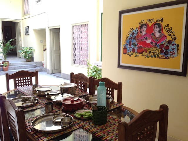 The communal dining area. Get home cooked Indian meal prepared by the Grannies or Kashi - their cook