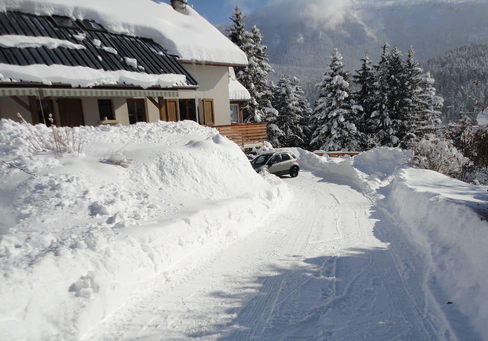 Sous la neige!