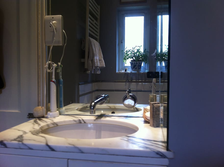 Bathroom.  Clean and tidy with plenty of hot water