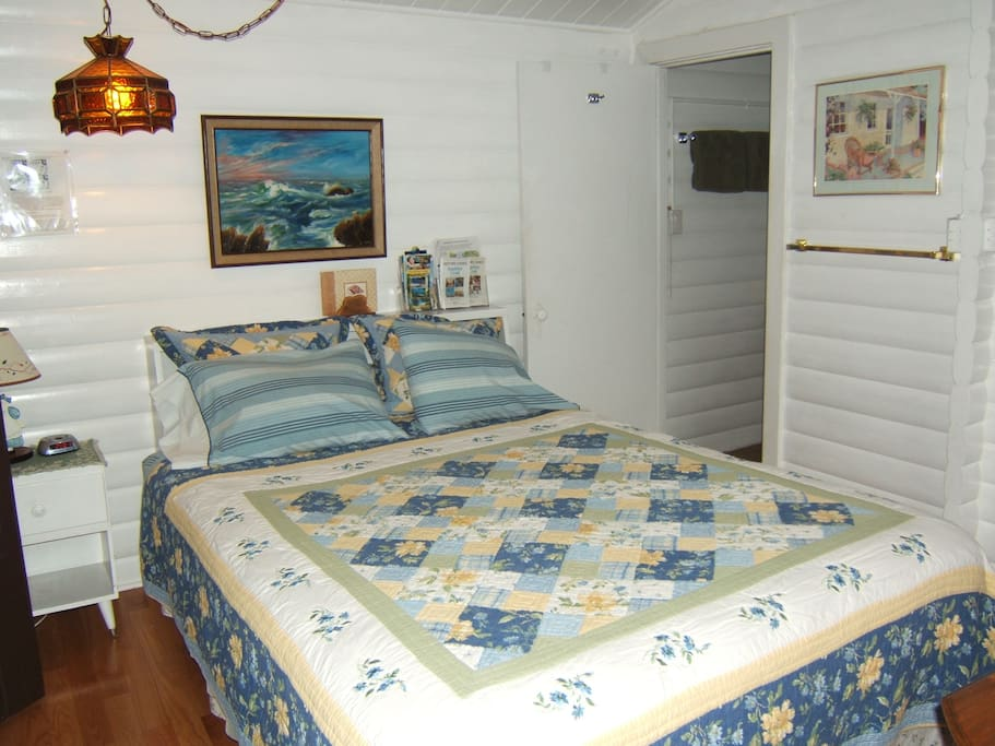 Queen bed, private new bathroom, kitchenette