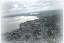 Corozal Town seen from the air, with Tropic Air