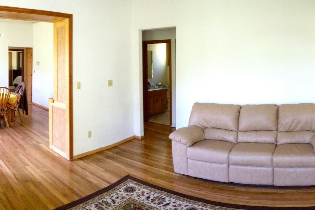 open living room and dining room