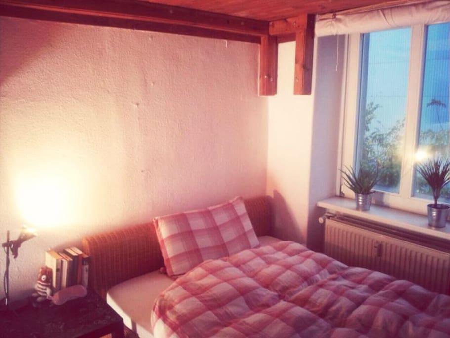 Schlafzimmer mit großem Doppelbett (bei 2 Personen natürlich auch 2 Decken)