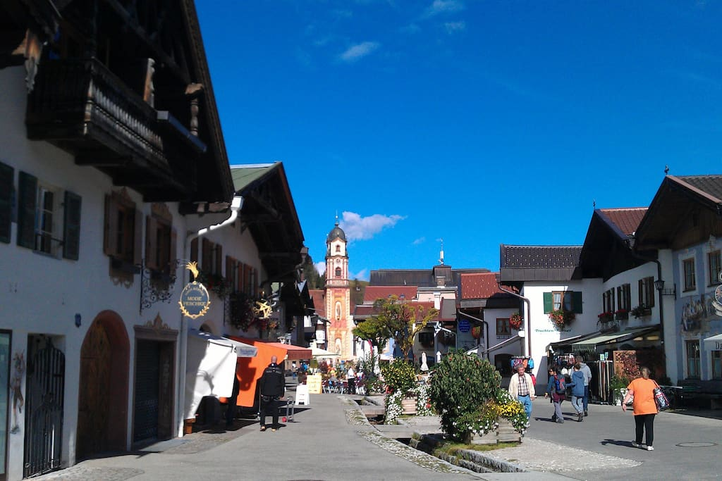 Mittenwald village centre - classic Bavarian style. Beautiful, warm, sunny weather in early October :-)