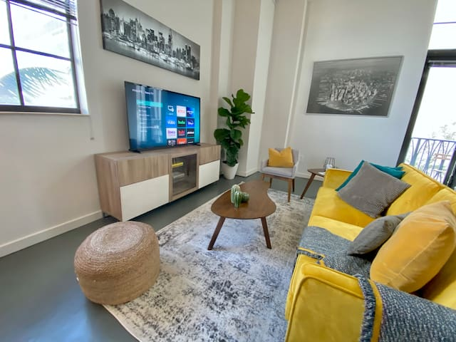 Stylish yet cozy living space designed with all of the comforts of home in mind.