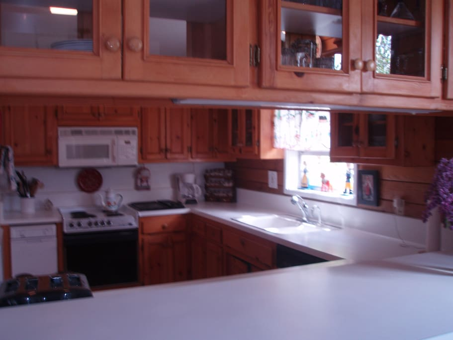 Kitchen with handmade pine cabinets