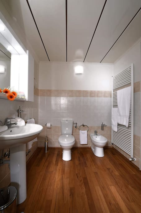 Vista del bagno con porta finestra ampia doccia pavimento in legno , fon e saponi liquidi