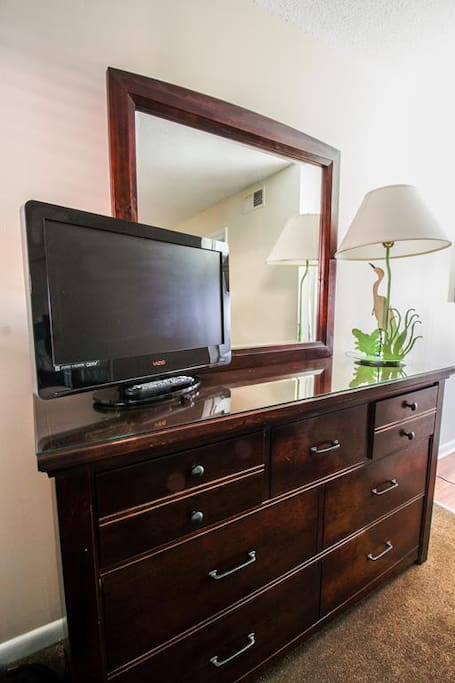 Bedroom TV on dresser
