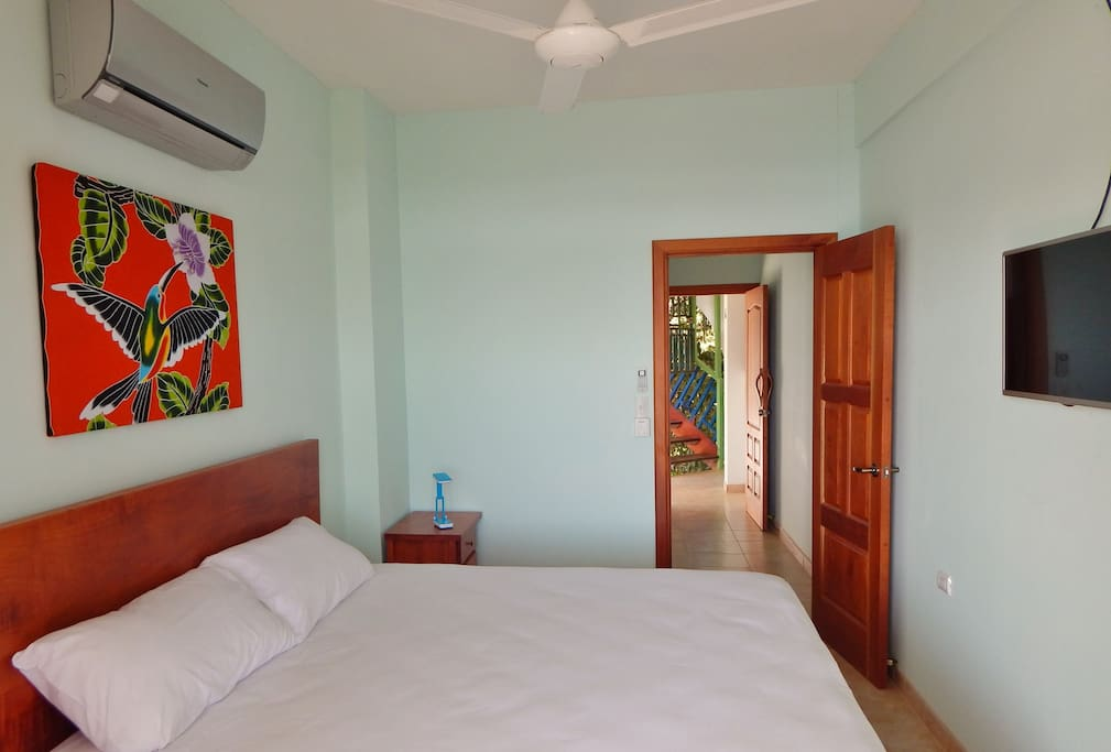 Private entrance, king bed, AC, fan and flat panel TV.