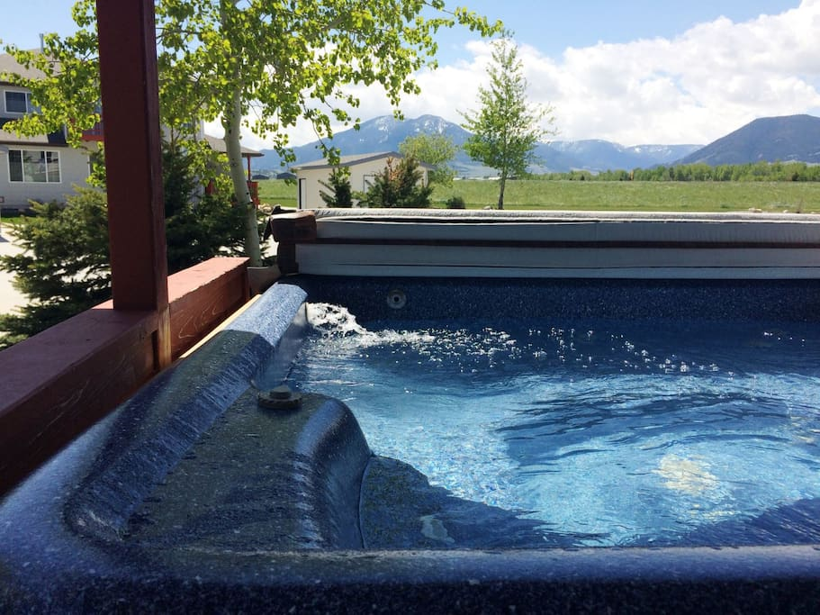 Hot tubbin` with mountain views