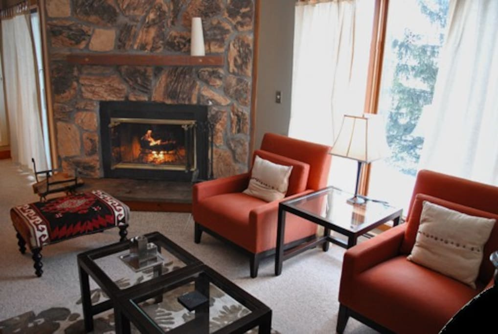 Sit by the fire and take in the Bromley Mountain vista,