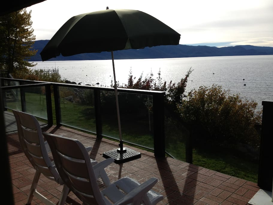 Amazing comfortable deck. View of East Shore.