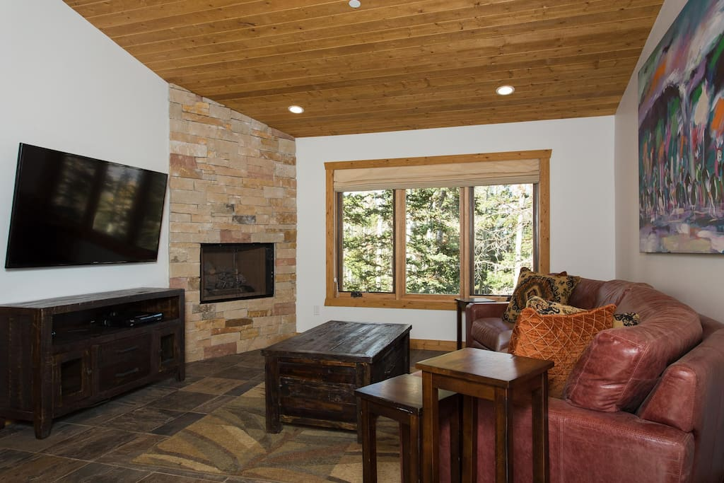 Living room with fireplace, flat screen TV, blue ray and picture window