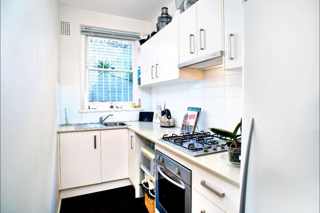Galley style kitchen with all gas appliances
