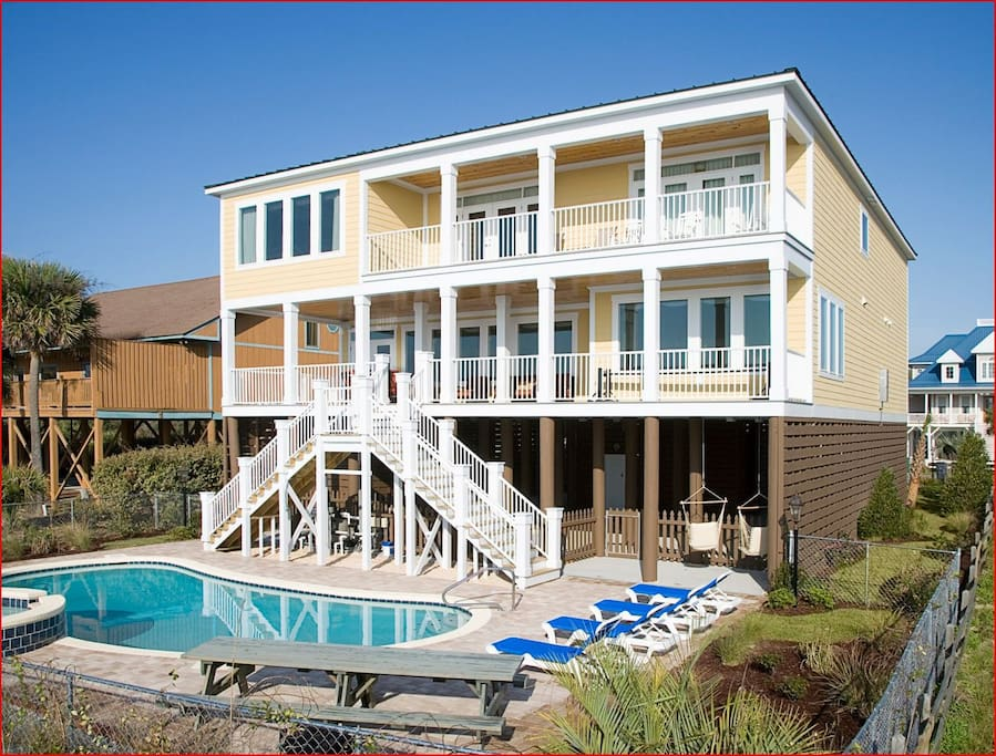 Oceanfront Myrtle Beach Home Sleeps 26 8br 8 5 Houses For Rent In Myrtle Beach South