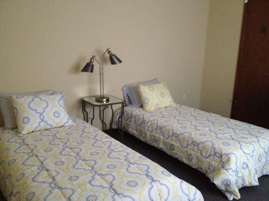 Guest bedroom with memory foam mattress.