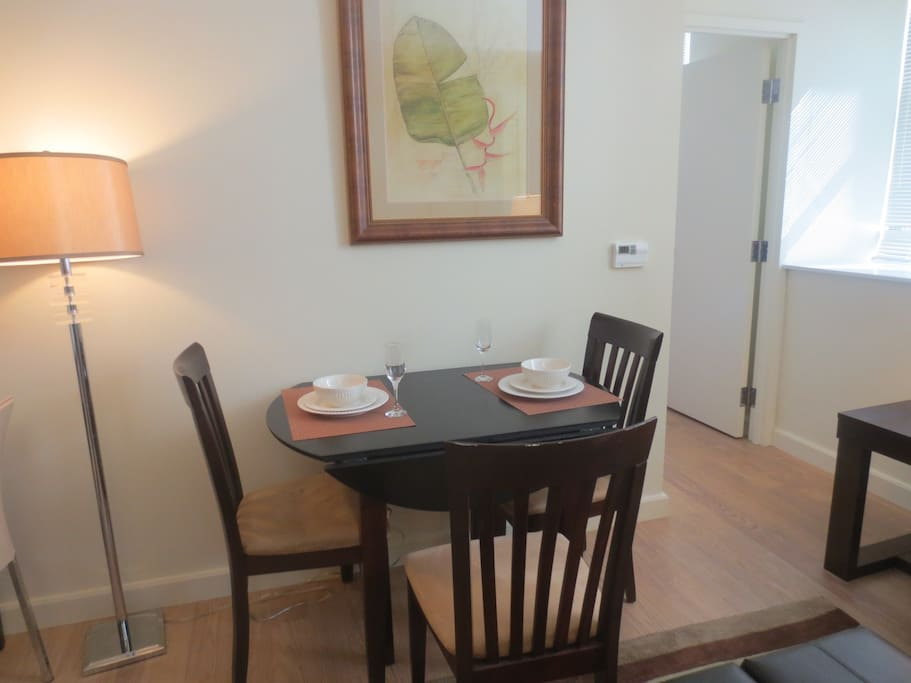 Dining area with seating for three where you can dine in comfort