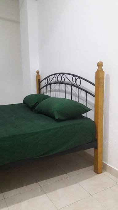 the bedroom with a double bed