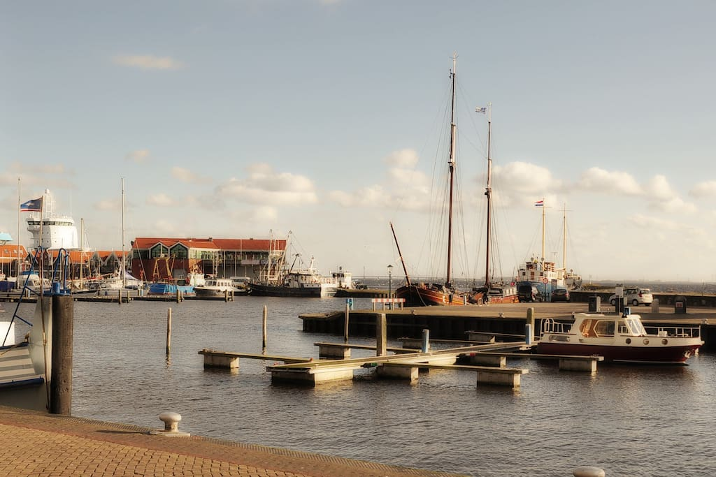 Direct op de haven gelegen