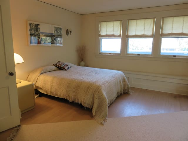 Sunny guest room with queen-sized bed
