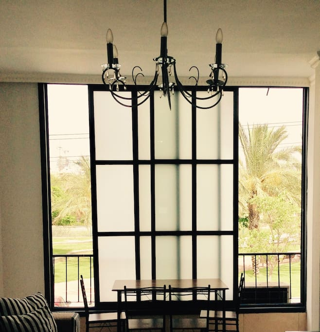 living room window and dining table
