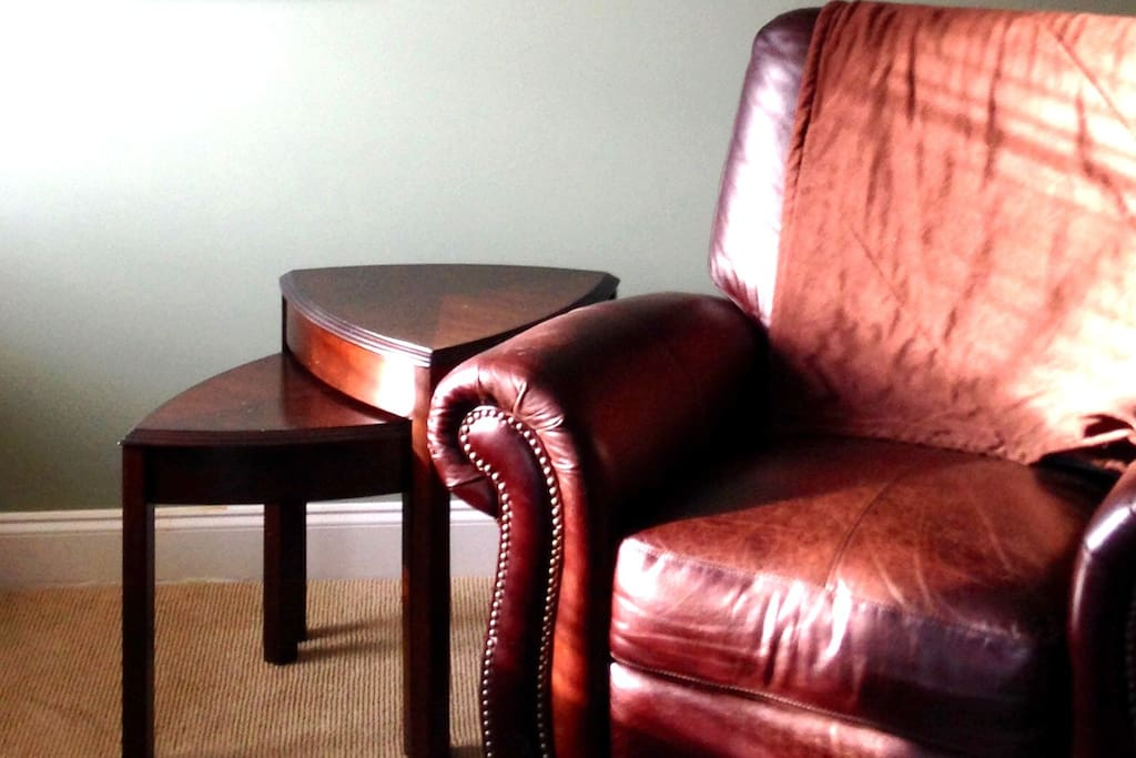 Leather recliner in living room