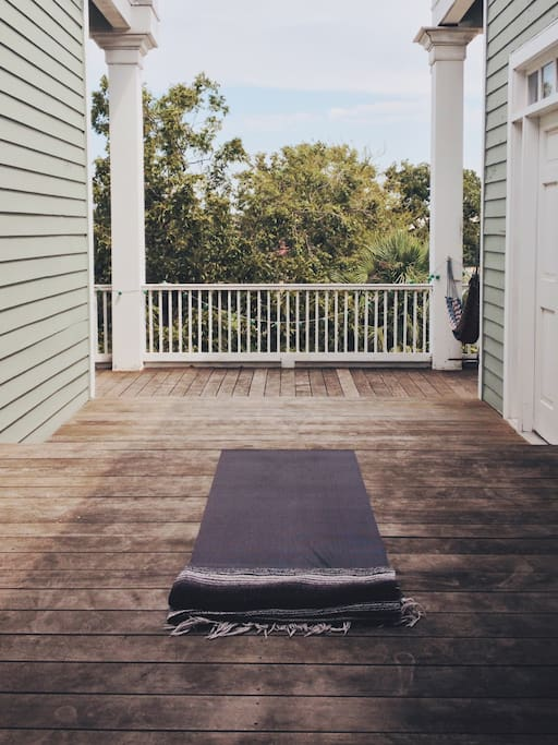 Bring a yoga mat and enjoy a stretch on the back porch or lie in the hammock and watch the flocks of parakeets.