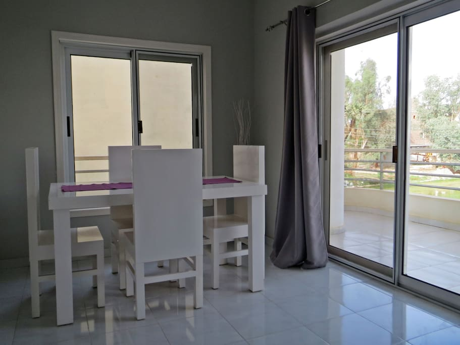 Dining area with private balcony