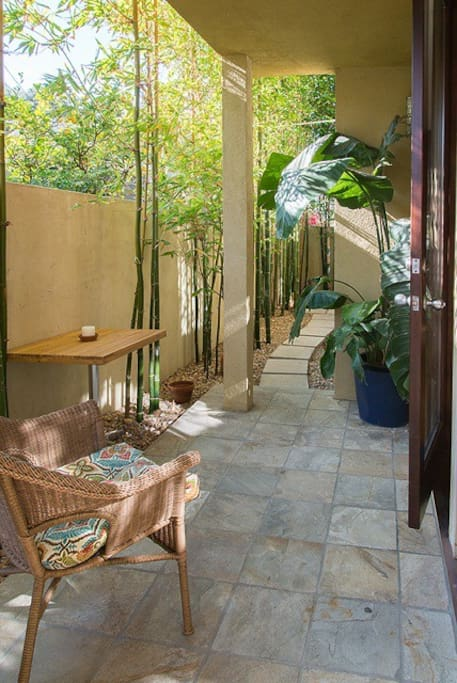 The outside patio garden connects to each room