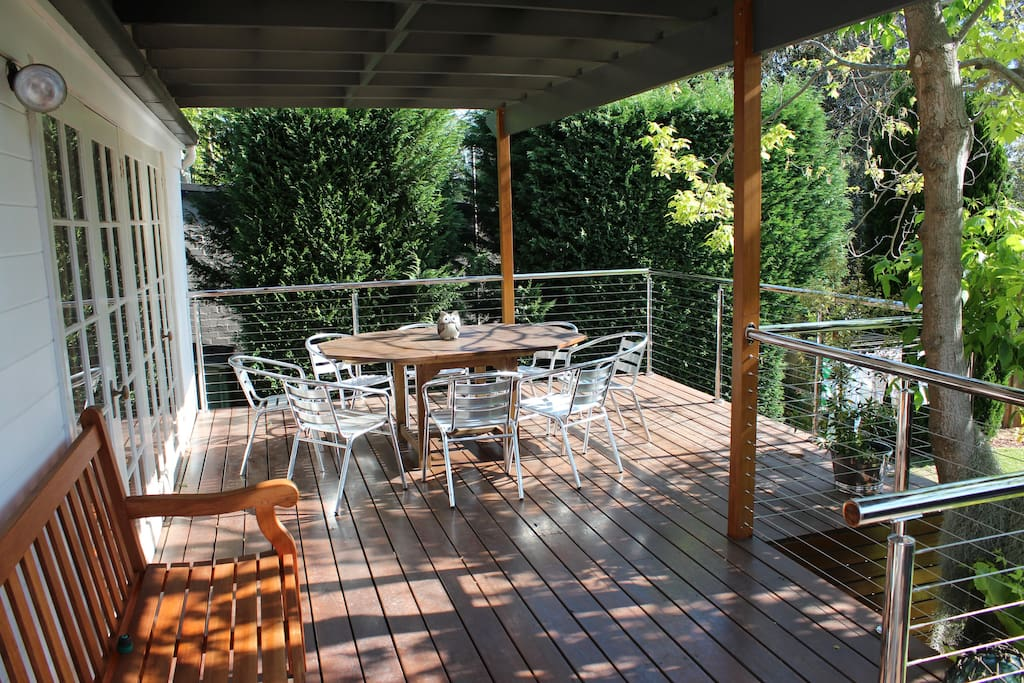 Beautiful, sunny outdoor deck