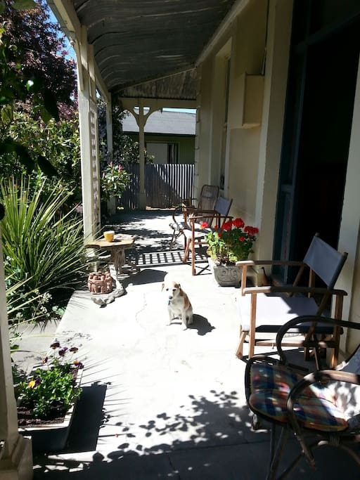 Sunny front porch - great place for morning coffee!