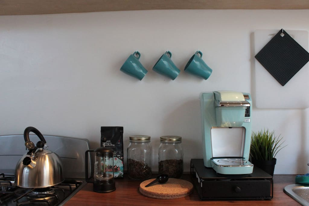 Here I'm trying to showcase the complimentary coffee and tea setup I have for my guests. I'm a little proud of it.