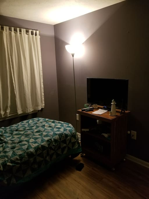 warm bedroom with cable and wifi