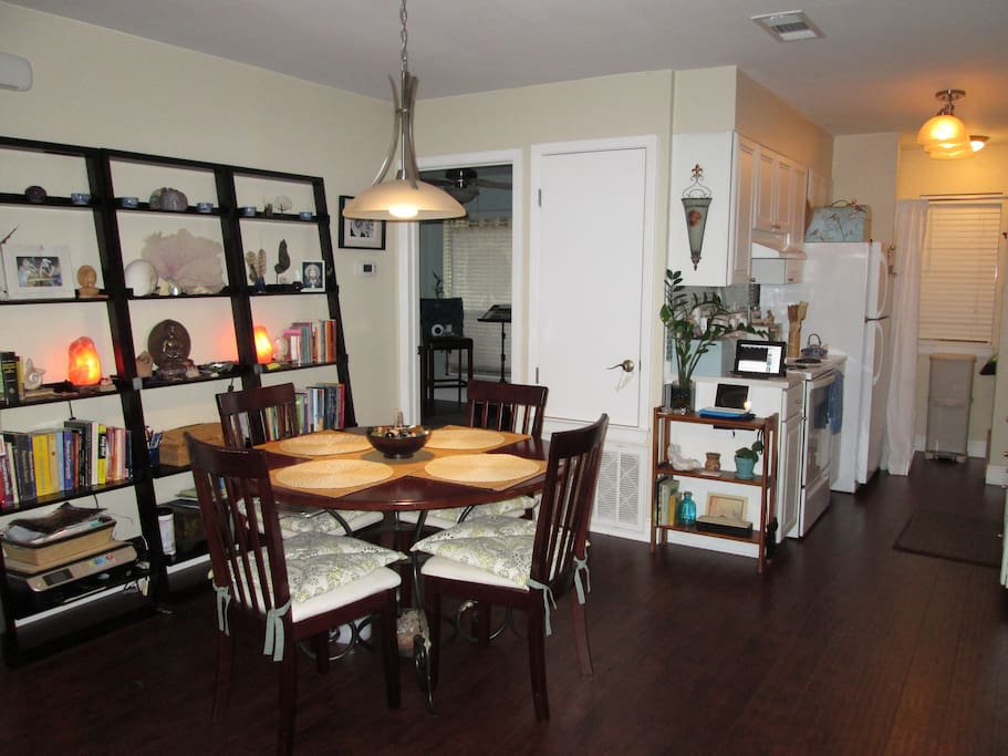 Dining area and fully stocked kitchen