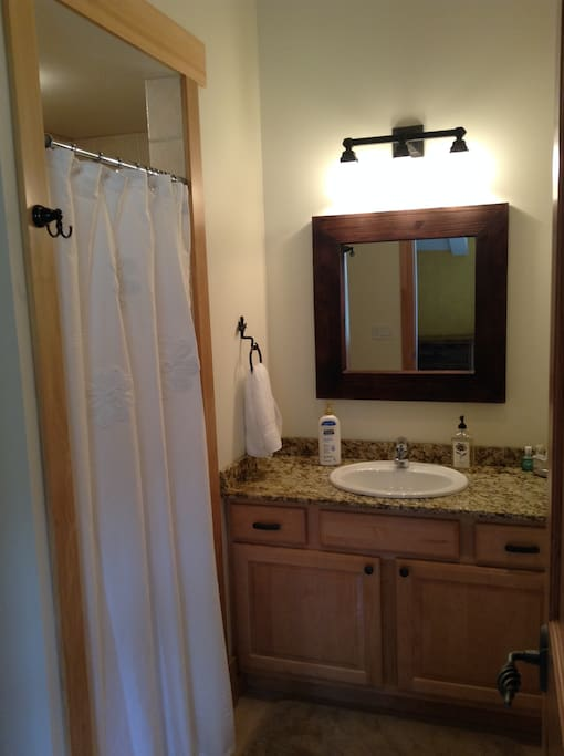 Attached bath off guest bedroom with stone walk-in shower