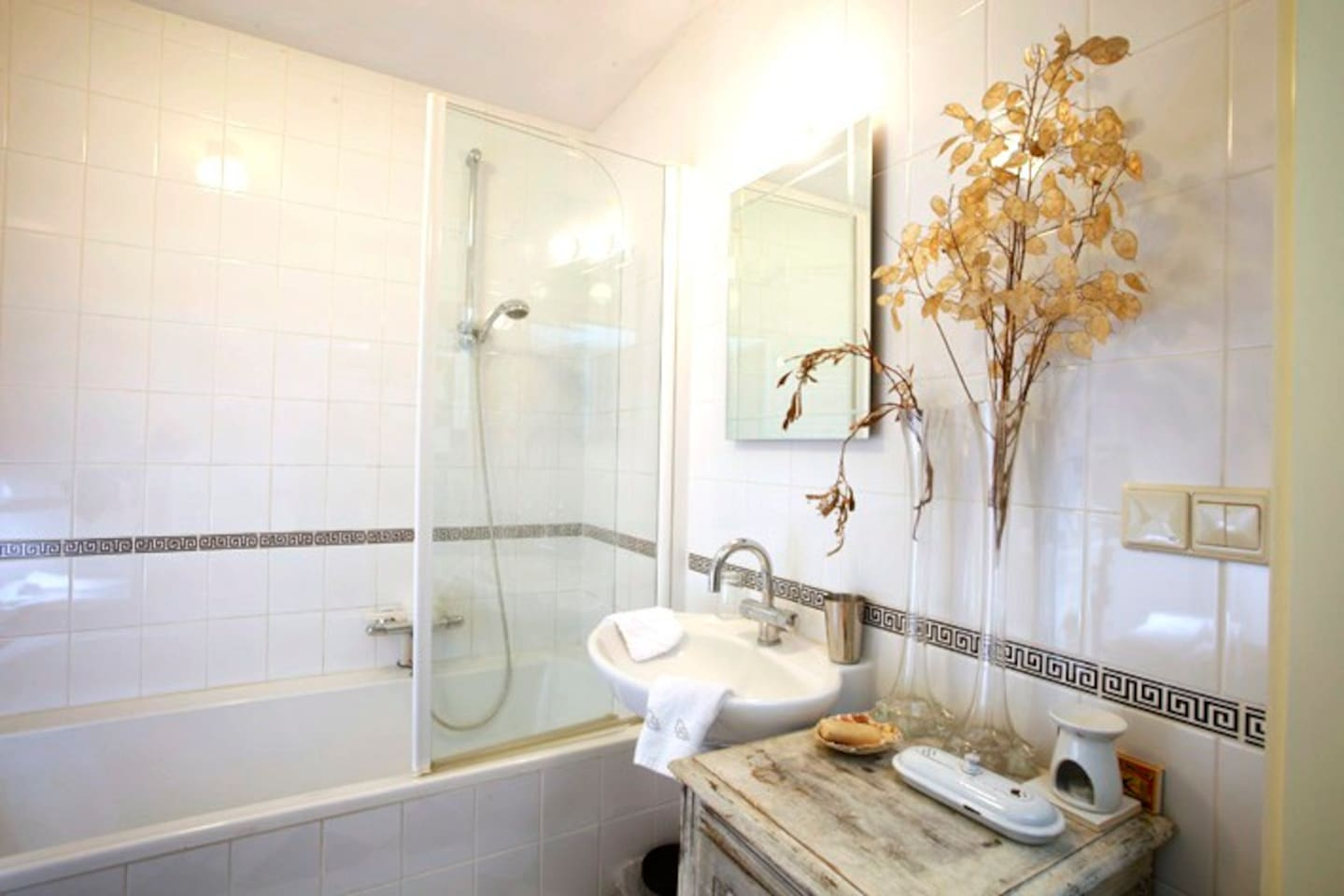 Your own bathroom for a quick shower in the morning and a relaxing bath in the evening