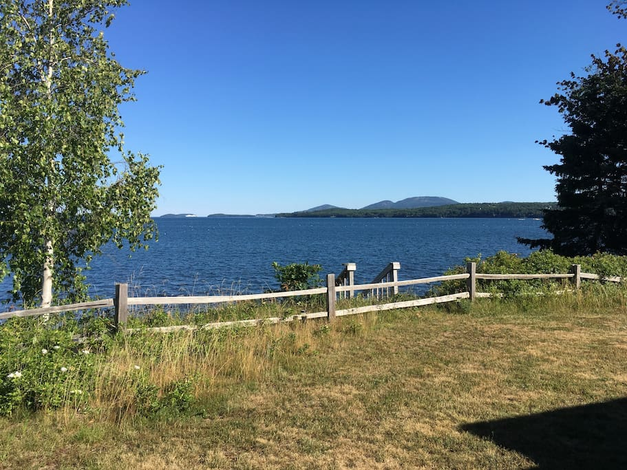 View overlooking Frenchman's Bay to MDI, Cadillac Mountain and Bar Harbor