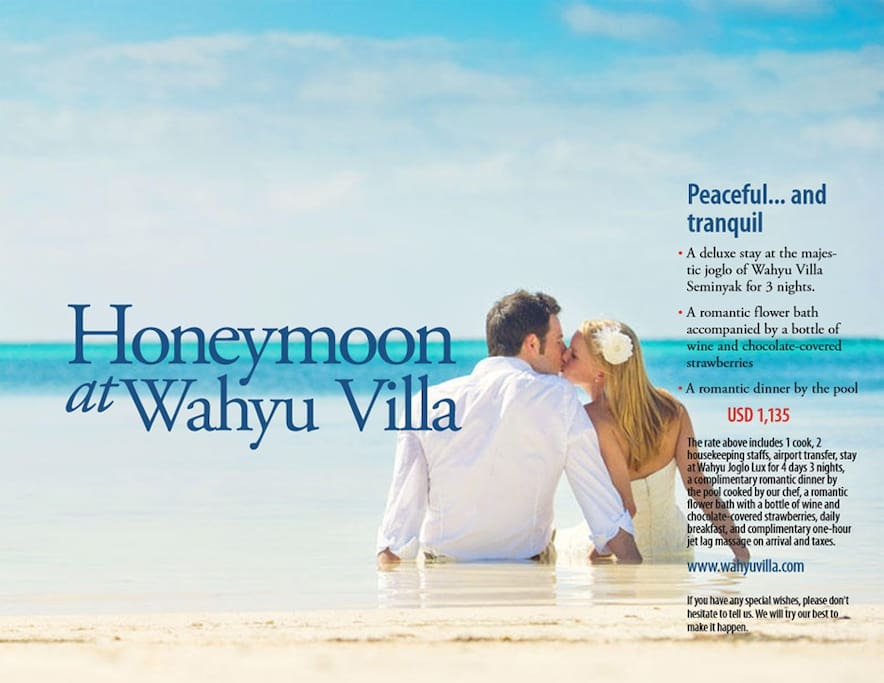 Honeymoon package. Enquire now.