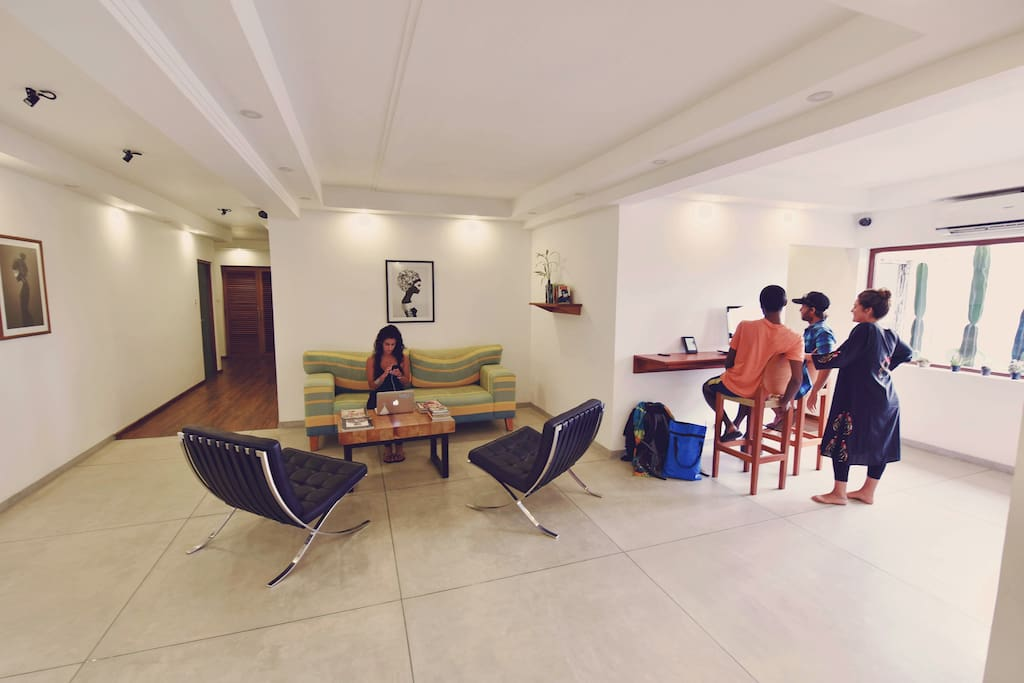 the lounge with workstations and high speed wi-fi