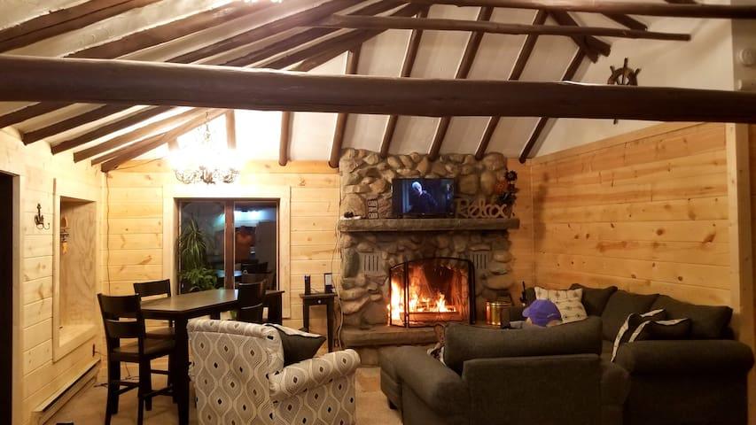 Beautiful wood burning fireplace.
