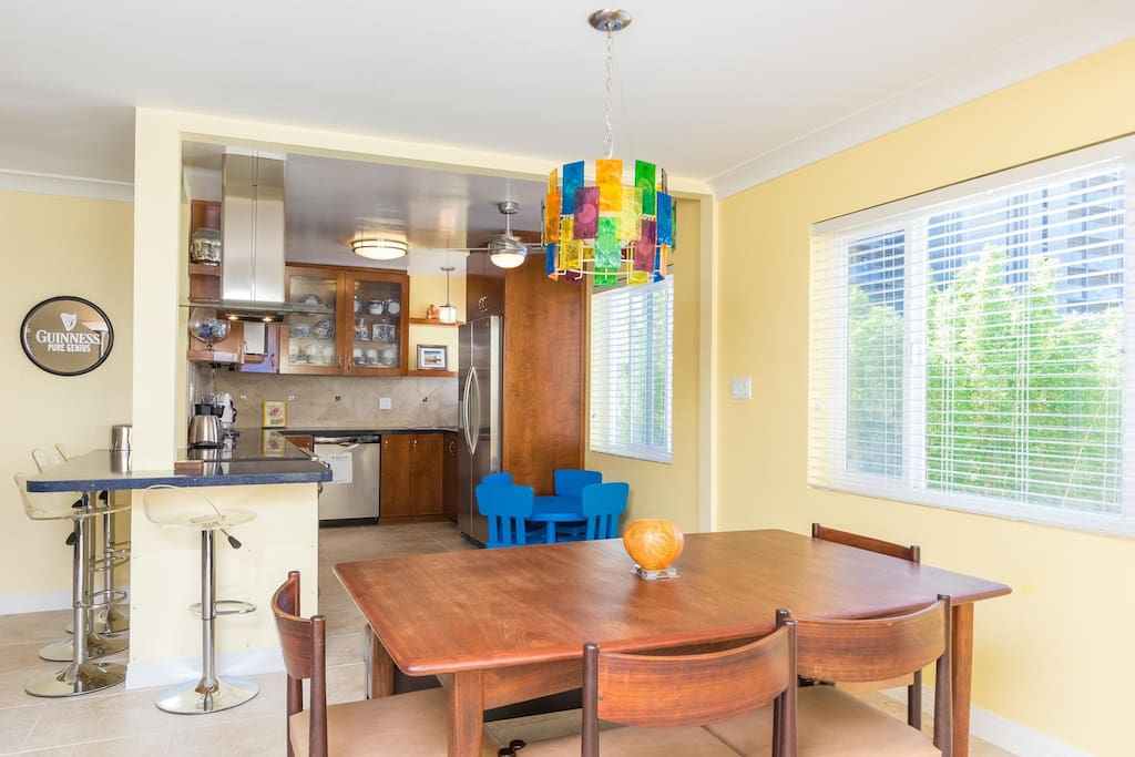 Bright kitchen and dining