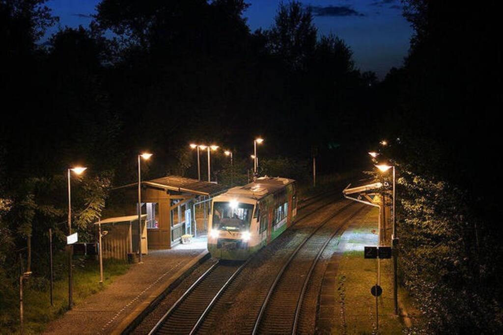 Haltepunkt Chemnitz-Borna direkt vorm Haus