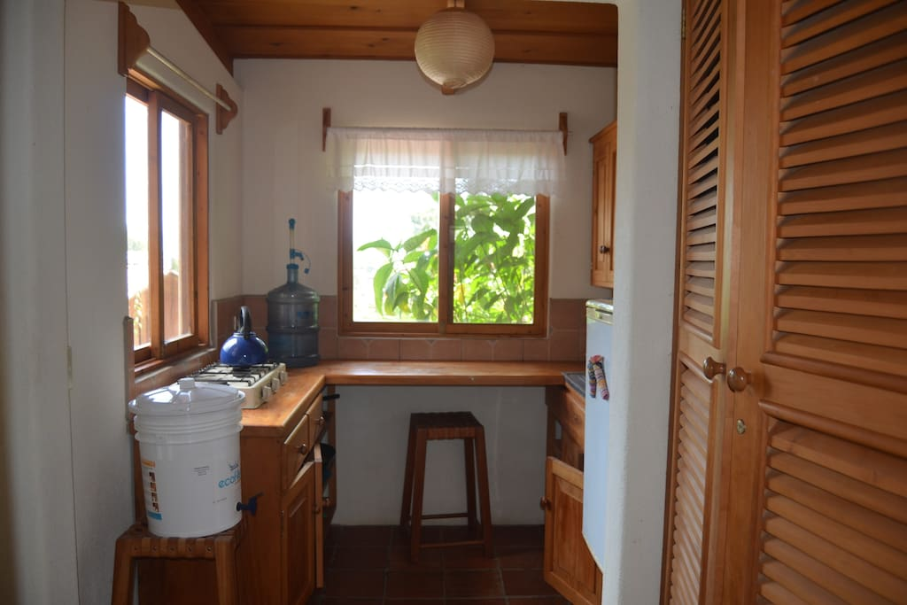 The kitchen is simple but has everything you need for a short stay.