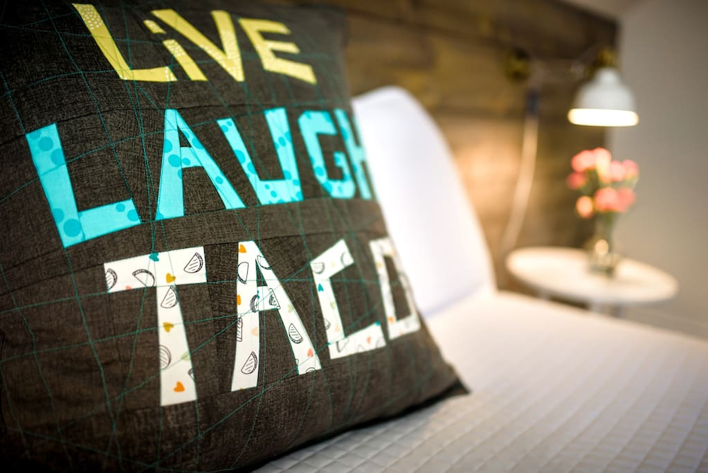 Custom pillow by textile artist Valerie Levy. Taco fabric DOES exist!